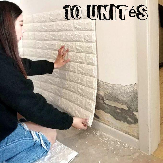 10 unités adhésif panneaux muraux anti humidité Blanc